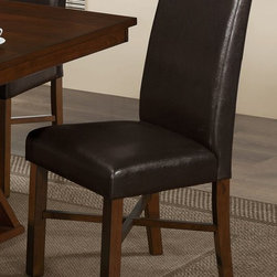 Monarch Specialties - Monarch Specialties Side Chair in Modern Oak (Set of 2) - These stylish Parson chairs compliment the look of the dining table with padded cushioning and a matching modern oak stain finish. The brown leather-look seats and stitched details at the back of the chair are rich in sophistication and add to the appeal and character of the dining set.
