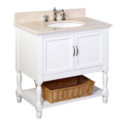 Kitchen Bath Collection - Beverly 36-in Bath Vanity (Crema Marfil/White) - This bathroom vanity set by Kitchen Bath Collection includes a white cabinet, beige Spanish Crema Marfil countertop, undermount ceramic sink, pop-up drain, and P-trap. Order now and we will include the pictured three-hole faucet and a matching backsplash as a free gift! All vanities come fully assembled by the manufacturer, with countertop & sink pre-installed.