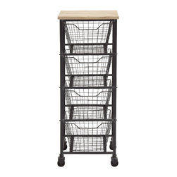Classy Styled Metal Wood Storage Cart - Description: