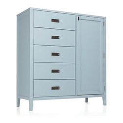 Arch Blue Chifforobe - Classic cottage styling in a fresh blue reads warm, crisp and current. Trim solid poplar frames five stacked drawers and a roomy storage area with two adjustable shelves. Inset antiqued brass pulls and smartly tapered legs complete the fresh, contemporary look.