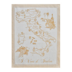 Abbiamo Tutto - Kitchen Towel - Different Wines of Italy - Vino, Amber Yellow - 100% Italian cotton woven kitchen towel featuring the different types of Italian wines and the regions that are associated with each wine.Machine washable. Available in amber yellow and blue. Perfect gift for anyone who enjoys good Italian wine!