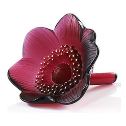 Lalique - Lalique Red Anemone Flower - Lalique Red Anemone Flower