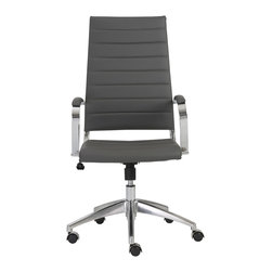 Euro Style - Euro Style Axel High Back Office Chair 00476GRY - Interesting how one chair can be 'all-business' and ridiculously comfortable all at the same time. The high, ribbed back has a lot to do with the comfort and the classic office design says this is one classy work environment. Thanks for stopping by. Have a seat.