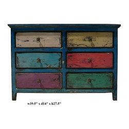 Blue Multi-color 6 Drawers Side Table Drawers - This is an old cabinet restored with modern lacquer in rustic finish. Drawers are painted in different color.