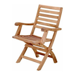 Anderson Teak - Andrew Ladder Back Folding Armchair - Set of 2 - Unfinished for a natural look, this solid teak folding chair is designed with comfortable armrests and is lightweight for easy portability and storage.  Great as a side chair for any outdoor space, this functional chair is sturdy and attractive.  Bring a classic note to the patio with outdoor foldable teak arm chairs.  They offer relaxation in entertainment groupings and are an outstanding choice for dining.  This patio chair offers a very simple and yet elegant design which highlights the exquisite beauty of its solid unfinished Teak composition, a durable and yet light to carry wood. * Set of 2. Foldable. Ladder back and seat design. With arms. Made from the finest solid Teak. No assembly required. Overall: 23 in. W x 18 in. D x 36 in. H (20 lbs.). Seat height: 18 in. Our folding armchair is a very sturdy, very versatile side chair, which is the perfect complement to our table. This chair is claimed to be the most convertibles chair of our product. Made from the finest solid Teak, which is strong and durable; yet light enough to allow for easy storage. This is a beautiful and functional piece of furniture for your patio or terrace. This simple, lovely chair offers pleasure and comfort with each use.