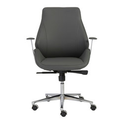 Euro Style - Euro Style Bergen Low Back Office Chair 00475GRY - This is a very modern looking chair with an ingenious seat and back. It looks like one graceful piece. But for added comfort and give, it's actually two pieces, separate seats and a backs. There is a space where the two would ordinarily come together. The result is remarkable comfort in very classy chair. Gorgeous.