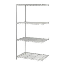 "Safco - Safco 36"" x 24"" Industrial Add-On Unit in Gray - Safco - Wire Storage - 5289GR - Add-on unit attaches to Model 5288 Industrial Wire Shelving to form a continuous shelving unit for corner applications. Kit includes four shelves two posts and snap-together clips. Strong welded wire construction. Shelves adjust in 1"" increments and assemble in minutes without tools. Each shelf holds up to 1000 lbs. (with weight evenly distributed). Available in Black or Metallic Gray powder coat finish."