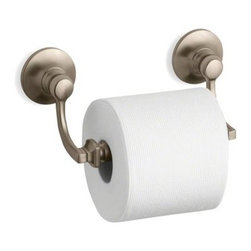 """Kohler - Kohler K-11415-BV Brushed Bronze Bancroft Bancroft Double Post Toilet - Bancroft(R) toilet tissue holder Bancroft(R) accessories portray a traditional aesthetic that complements the entire Bancroft Suite of products and lends elegance to any bath or powder room. This toilet tissue holder, available in a Polished Chrome finish that provides exceptional durability and beauty, allows you to coordinate your décor down to the last detail.  8-1/2""""W x 3-9/16""""D x 3-3/4""""H Coordinates perfectly with Bancroft fixtures and faucets Premium metal construction for durability and reliability Tools and drilling template included for easy installation"""