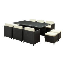 Reversal Outdoor Wicker Patio 11 Piece Dining Set in Espresso with White Cushion