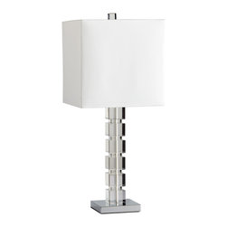 Kiev Clear Crystal Stacked Cube Modern Table Lamp - This contemporary table lamp takes simple elegance to a whole new level, stacking crystal squares into a gorgeous base. The base is spectacular, however the style doesn't stop there - the shade is lined in royal purple casts the light downwards to further emphasize this most contemporary and chic table lamp.