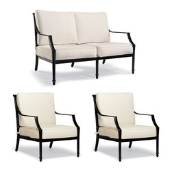 Frontgate - Grayson 3-pc. Outdoor Loveseat Set in Black Finish - Echo Apricot with White Pip - Crafted of 100% ingot aluminum. Solid cast back details. Sofa, Loveseat, and Lounge Chair arrive with plush, all-weather back and seat cushions. Cushions are constructed of a high-resiliency foam core with soft polyester wrap. Finished with 100% solution dyed fabric covers that resist mold, mildew and fading. The perfect garden party. That's what Grayson calls to mind. This timeless seating collection is elegant without being fussy, with a high lattice back and airy design that are achieved in solid cast aluminum. Made to endure season after season with hand-filed welds, a durable powder coated finish and all-weather cushions.  .  .  .  .  . Seating includes adjustable foot glides . Glossy Black Finish . Designed exclusively for Frontgate . Imported.