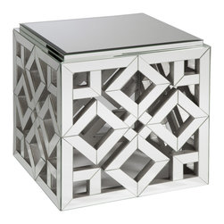 Kathy Kuo Home - Valentino Hollywood Regency Mirrored Occasional Square End Table - This mirrored end table will wake up your living room by adding a bold, geometric texture and a chic, glamorous accent. Any lamp or sculpture you place on top will shimmer in its own reflection.