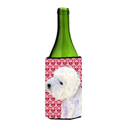 Caroline's Treasures - Westie Hearts Love and Valentine's Day Portrait Wine Bottle Koozie Hugger - Westie Hearts Love and Valentine's Day Portrait Wine Bottle Koozie Hugger Fits 750 ml. wine or other beverage bottles. Fits 24 oz. cans or pint bottles. Great collapsible koozie for large cans of beer, Energy Drinks or large Iced Tea beverages. Great to keep track of your beverage and add a bit of flair to a gathering. Wash the hugger in your washing machine. Design will not come off.