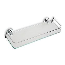 "StilHaus - Clear Glass Bathroom Shelf, Chrome - 16"" clear glass shelf."