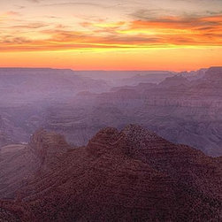 Magic Murals - Grand Canyon Sunset Panorama Wall Mural -- Self-Adhesive Wallpaper by MagicMural - Panoramic view of the sun setting over America's grandest national park, Arizona's Grand Canyon, carved over centuries by the Colorado River in America's Old West.