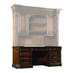 """Hooker Furniture - European Renaissance II Computer Credenza - White glove, in-home delivery included!  Includes furniture assembly!  Computer Credenza only.  Hutch sold Separately.  Cherry and myrtle burl veneers with hardwood solids are an exquisite combination in the European Renaissance executive home office collection.  Left pedestal with one file drawer with Pendaflex letter/legal filing system, one box drawer with removable dividers, and one box drawer with pencil tray and writing insert, pedestal lock.  Right pedestal with one box drawer with pencil tray and writing insert, one door opening to reveal one adjustable shelf and printer pullout on metal ball bearing slides.  Center drawer with drop-front for use with a keyboard, power bar in top with two grounded electrical outlets on top and one on bottom, phone jack, high speed data ports, and USB upstream and downstream, levelers.  Kneehole space: 28"""" w x 22 3/8"""" d x 24 1/8"""" h  Keyboard space: 25 1/2"""" w x 13 1/2"""" d x 2 5/8"""" h  Printer space: 20"""" w x 17 1/2"""" d x 16"""" h  File Drawer: 15 5/8"""" w x 17 1/4"""" d x 9 3/8"""" h  Kneehole shelf: 28 1/4"""" w x 10"""" d  Left Pedestal Middle Drawer: 15 5/8"""" w x 20"""" d x 4 1/2"""" h"""