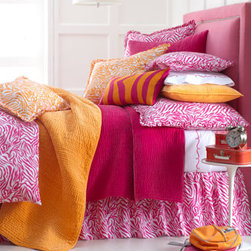 """Amity Home - Amity Home 18""""Sq. Zabrina Pillow - If she's wild for animal patterns, she'll love """"Zabrina"""" bed linens. Made of cotton in a choice of Pink or Orange to mix or match. Select color when ordering. Imported. Machine wash. Gathered """"Zabrina"""" dust skirts have an 18"""" drop. Quilted linens are...."""