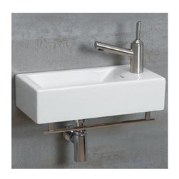 Whitehaus - Isabella 5.25 in. Wall Mount Sink w Center Dr - Includes mounting hardware and towel bar. Faucet not included. Rectangular shaped. Single hole faucet drilling on right side. Made from porcelain. White and polished chrome color. Center drain: 1.75 in.. Inside: 13.75 in. W x 7.5 in. D x 4.13 in. H. Overall: 19.75 in. W x 9.88 in. D x 5.25 in. H (24 lbs.). Warranty
