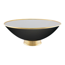 Maison Alma - Arienne Center Bowl, Black & 24k Gold - Hand-crafted in Portugal from smooth porcelain, this monumental bowl has an aura of serenity that seems to make the room go still. Elegantly rimmed and footed with 24-karat gold or platinum, it makes a stunning art display by itself, but you can also use it as a decorative container or even a fine serving bowl.