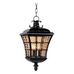 Joshua Marshal - Three Light Oil Rubbed Bronze Amber Seedy Glass Hanging Lantern - Three Light Oil Rubbed Bronze Amber Seedy Glass Hanging Lantern