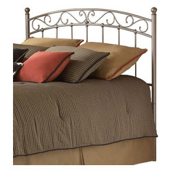 Leggett/Platt Fashion Bed - Arched Metal Headboard In New Brown Finish (Queen) - Choose Headboard Size: QueenPair this lovely new brown finished metal headboard with any shade of luxurious linens to create a beautiful focal point for your bedroom. A softly arching center is bordered with a scrollwork pattern, and then finished with spindles that feature beaded joints where they intersect the frame. In New Brown. Made of metal. Twin: 39 1/2 in. W x 51 in. H. Full: 54 1/2 in. W x 53 in. H. Queen: 61 1/2 in. W x 53 in. H. King: 77 1/2 in. L x 53 in. H. Add universal bed frame (see accessories) to complete the bed!The Ellsworth headboard shows a refined poise perfect for anyone seeking simplicity with just a touch of character. The profile of the grill carries a gentle arch across the top with fanciful swirls just beneath. The simplicity of the vertical spindles make sure that the bed maintains a certain calm. One should note that each of these vertical elements is fixed into place with a solid casting. Its New Brown finish completes the headboard.