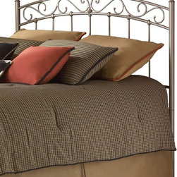 Leggett/Platt Fashion Bed - Arched Metal Headboard In New Brown Finish (Twin) - Choose Headboard Size: TwinPair this lovely new brown finished metal headboard with any shade of luxurious linens to create a beautiful focal point for your bedroom. A softly arching center is bordered with a scrollwork pattern, and then finished with spindles that feature beaded joints where they intersect the frame. In New Brown. Made of metal. Twin: 39 1/2 in. W x 51 in. H. Full: 54 1/2 in. W x 53 in. H. Queen: 61 1/2 in. W x 53 in. H. King: 77 1/2 in. L x 53 in. H. Add universal bed frame (see accessories) to complete the bed!The Ellsworth headboard shows a refined poise perfect for anyone seeking simplicity with just a touch of character. The profile of the grill carries a gentle arch across the top with fanciful swirls just beneath. The simplicity of the vertical spindles make sure that the bed maintains a certain calm. One should note that each of these vertical elements is fixed into place with a solid casting. Its New Brown finish completes the headboard.