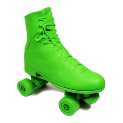 EcoFirstArt - Roller Stop - Roll right in to functional sculpture, when you use this organic resin cast of a roller skate as a bookend, doorstop, or retro-inspired decorative piece. This groovy skate is available in your choice of colors: Bright green, sparkling silver or gleaming white.