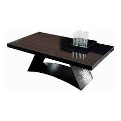 Rossetto - Nightfly Coffee Table - Holy coffee table, Batman. Feast your eyes on the glistening, solid wood top, wrapped faux crocodile leather base and envision how much personality it'll add to your living room. A statement piece that is still sophisticated enough to blend in to any decor and through many style updates.
