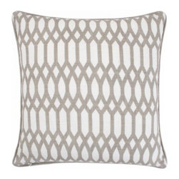 """Z Gallerie - Tryst Pillow 22"""" - Graphically repetitive and visually stunning, our Tryst Pillow is an exceptional way to update your décor. Juxtaposed against a linen hued background, grey hued diamond and oval shapes create a stunning geometric pattern play. Designed out of cotton, for the utmost in softness and texture, our Tryst Pillows is a stunning addition to a wide variety of décor settings. Generously sized at 22 inches square, our Tryst Pillow is filled with a luxurious down/feather insert, the ultimate in sink-into sumptuousness. Spot clean only.  Available in Grey and Lemon. Exclusive to Z Gallerie."""