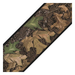 York Wallcoverings - Mossy Oak Camo Leaves Self Stick Accent Wall Border - Features: