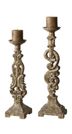 Uttermost - Billy Moon Gia Candleholders - Set of 2 - Designer: Billy Moon. Set of 2. Antiqued candles included. Made of Resin. Small: 6 in. W x 6 in. D x 20 in. H. Large: 7 in. W x 5 in. D x 23 in. HHeavily distressed and antiqued light mocha brown finish with an aged ivory glaze.