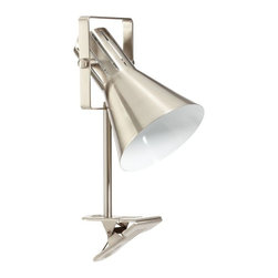 Colorful Clip Lamp, Nickel - Extra reading light is a must in a dorm. I love that this lamp clips onto a window ledge, bookcase edge or headboard so that valuable floor real estate is saved.