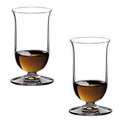 Riedel - Riedel Vinum Single Malt Whisky Glasses - Set of 2 - In early 1992, a panel of Scotch whisky experts convened at Riedel's headquarters in Austria to test a range of nineteen different glass shapes. On the basis of this first selection, Georg Riedel undertook further research with the help of master distillers in Scotland. This research resulted in a glass that is an elongated thistle shape on a truncated stem. The design incorporates a small, slightly outturned lip which directs the spirit onto the tip of the tongue, where sweetness is perceived, and serves to emphasize the elegant creaminess of top quality single malt whisky. Recommended for: Malt Whisky, Single Malt Whisky, Whisky/Whiskey