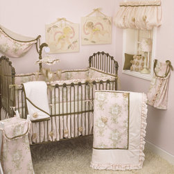 Cotton Tale Designs - Lollipops & Roses 8 Piece Crib Bedding Set - A quality baby bedding set is essential in making your nursery warm and inviting. All N. Selby patterns are made using the finest quality materials and are uniquely designed to create an elegant and sophisticated nursery. Lollipops & Roses is a graceful collection of pinks, cream, and tan. The Lollipops & Roses 8 Pc Set includes the 4 Pc Crib Bedding(dust ruffle, bumper, diaper stacker, crib sheet) diaper stacker, toy bag, valance, and pillow pack. The four piece sectioned bumper is pink angel toile with warm tan velvet trim complimented with a pink shimmer ruffle. The dust ruffle is of pink shimmer and is accented with organza ribbon roses. Pink angel toile, cream minky, pink shimmer, and tan velvet come together in this stylish coverlet adorned with organza ribbon roses. Complete the bedding set with a natural floral print fitted sheet. Part of the Lollipops & Roses 8 Pc Set this diaper stacker of pink angel toile and cream minky trim, can be tied with its tan velvet bows to your changing table or to the side of your baby's crib. Wash gentle cycle, separate, cold water. Tumble dry low or hang dry. This toy bag made of pink angel toile with tan velvet ties and pink shimmer ruffle trim can be tied to your changing table or hung to decorate your walls, but never tie to the crib. Delicately ballooned valances are the perfect compliment for this nursery window. Part of the Lollipops & Roses collection, this valance of pink shimmer and stylish organza ribbon roses measures 45 in.  X 14 in. -16.5 in. . The final part of the Lollipops & Roses Bedding 8 Pc Set is this pillow pack. It features two pillows(each measuring 12x12). One of brown velvet adorned with one rose in the center of the pillow while the other pillow features nine roses on a pink pillow. Cotton poly blend with a poly fill. Can be used together or separate. Pillows are for decorative purposes and should never be used in the crib. Spot clean only.