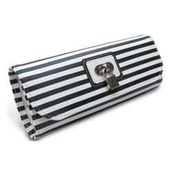 Morelle - Lucy Striped Jewelry Roll, Navy. - This classy striped jewelry envelope enclosed with lovely lock and key is areal eye catcher. Perfect for the frequent traveler, it features a zippered compartment for trinkets and accessories, a special earring holder and two ring holders.