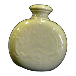 Golden Lotus - Chinese Celadon Green Porcelain Dragon Round Vase - This is a decorative piece in oriental celadon green glaze color and relief dragon motif on the body as an accent.