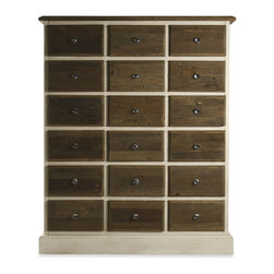 Kathy Kuo Home - Gabriel Reclaimed Wood 16 Drawer Dresser Chest - Clean modern lines with rustic materials make this reclaimed wooden chest a stylish addition to any room. A deep chestnut finish is embellished with small glass pulls and a dreamy ivory finish on the sides softens an otherwise robust piece.