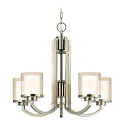 Dolan Designs Lighting - Modern Chandelier with Clear Seedy and White Glass Shades  - 2950-09 - With visual echoes of Art Deco, this sleekly contemporary chandelier suggests a skyscraper in its tall, satin nickel finish centerpiece. The four glass shades feature white-toned interiors framed by clear glass that's covered with seed textures. The right accoutrement for ultra-modern living rooms, this Horizon collection chandelier by Dolan Designs has six feet of chain, and measures 22 inches tall by 25 inches wide. Takes (5) 100-watt incandescent A19 bulb(s). Bulb(s) sold separately. UL listed. Dry location rated.