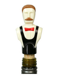 None visible - Consigned Fancy Cocktail Black Bottle Cork with Mans Bust - 1950s bottle cork mounted with a gentleman shaped plastic finial in black, vintage English.This is a vintage One of a Kind item. Some wear and imperfections are to be expected, as described.