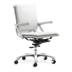 Zuo Modern - Zuo Lider Plus Office Chair in White - Office Chair in White belongs to Lider Plus Collection by Zuo Modern With its ergonomic shape and padded back and seat cushions, the Lider Plus office chair works in comfort. It has a chromed steel frame with soft neoprene arm pads, a locking tilt adjustment, and rolling base. Office Chair (1)