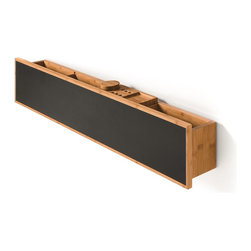WS Bath Collections - Luni 81142 Bamboo Shelf with Containers and Blackboard Magnetic Surface - Luni by WS Bath Collections, Bamboo Bathroom Vanity Unit with Blackboard Magnetic Surface