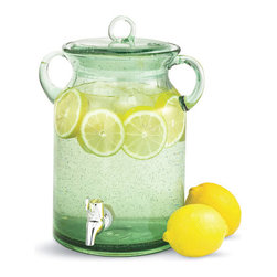 Tag - Green Tinged Handled Glass Beverage Dispenser - Mouth Blown Lemonade Beverage Server With Sealed Cover