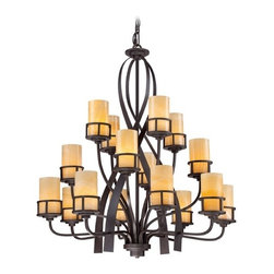 Chandelier with Beige / Cream Glass in Imperial Bronze Finish -