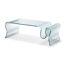 ZUO - Discovery Coffee Table - Flowing in form and function, the Discovery Coffee Table is made from a single piece of bent semi-tempered glass with frosted bands. Store magazines in its curve or leave it as a simple yet striking piece of useful art. Guaranteed to make guests exclaim over your stellar taste.