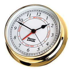 """Weems & Plath Brass Endurance 125 Time & Tide Clock - Combination quartz and tide clock movement which averages the Atlantic lunar tide cycle. The tide sector is calibrated for the east coast of the United States. Uses a AA battery. (Note: The clock will work for other tidal bodies of water but will need to be re-set more frequently.) The measurements are as follows: Dial: 4-7/8"""", Base: 6""""  Depth: 1-5/8""""."""