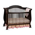 Stork Craft - Stork Craft Valentia 4-in-1 Fixed Side Convertible Crib in Black - Stork Craft - Cribs - 0458725B - The Valentia Fixed Side Convertible Crib surrounds your little darling in comfort and style with this beautiful sleigh designed crib.Curved edges flowing lines and a gorgeous white finish create a crib that even royalty would adore. With secure static side rails and an adjustable one piece mattress support base this piece provides crucial stability and function. This crib is not only delightful but it is a smart investment; converting from a standard crib to a toddler and daybed but ultimately into a full-size bed complete with headboard and footboard (full size bed rails not included). Set-up this royal piece with ease by following the simple easy to follow assembly instructions provided by Stork Craft. Complete your nursery look by adding a Stork Craft changing table chest dresser or glider and ottoman.