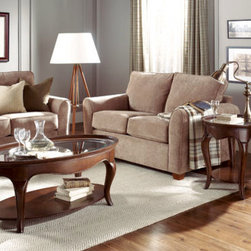 Hammary - Hammary Cherry Grove 2 Piece Oval Coffee Table Set w/ Glass Top in Mid Brown - - 091-911-2-SET.  Product features: Belongs to Cherry Grove Collection by Hammary; 1 Fixed Shelf; Oval Table Top Shape; Glass Top; Mid Tone Brown finish. Product includes: Cocktail Table (1); End Table (1). 2 Piece Oval Coffee Table Set w/ Glass Top in Mid Brown belongs to Cherry Grove Collection by Hammary.