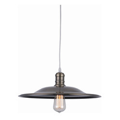 Bromi Design Astor Court Industrial 1-Light Pendant in Antique Brass