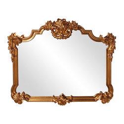 "Frontgate - Avondale Mirror - Constructed of hard wood. Gold leaf finish. Inner dimensions measure 32"" x 40"". Wipe clean with a soft cloth. Finished in a lustrous gold leaf, our Avondale Mirror features an ornate, traditional frame surrounding a rectangular mirror. Crafted from hard wood, this elegant mirror will make a glamorous addition to every room.  .  .  .  ."