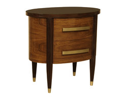 """Oval Two Drawer Chest - Oval Two Drawer Chest. Style no: CA22246. 30""""W x 21""""D x 30""""H. Material: Wood. Brass sabots. Finish/Accents: As specified. Also available as a Three Drawer Chest. Custom sizing available. Designed by Shah Gilani, ASFD."""